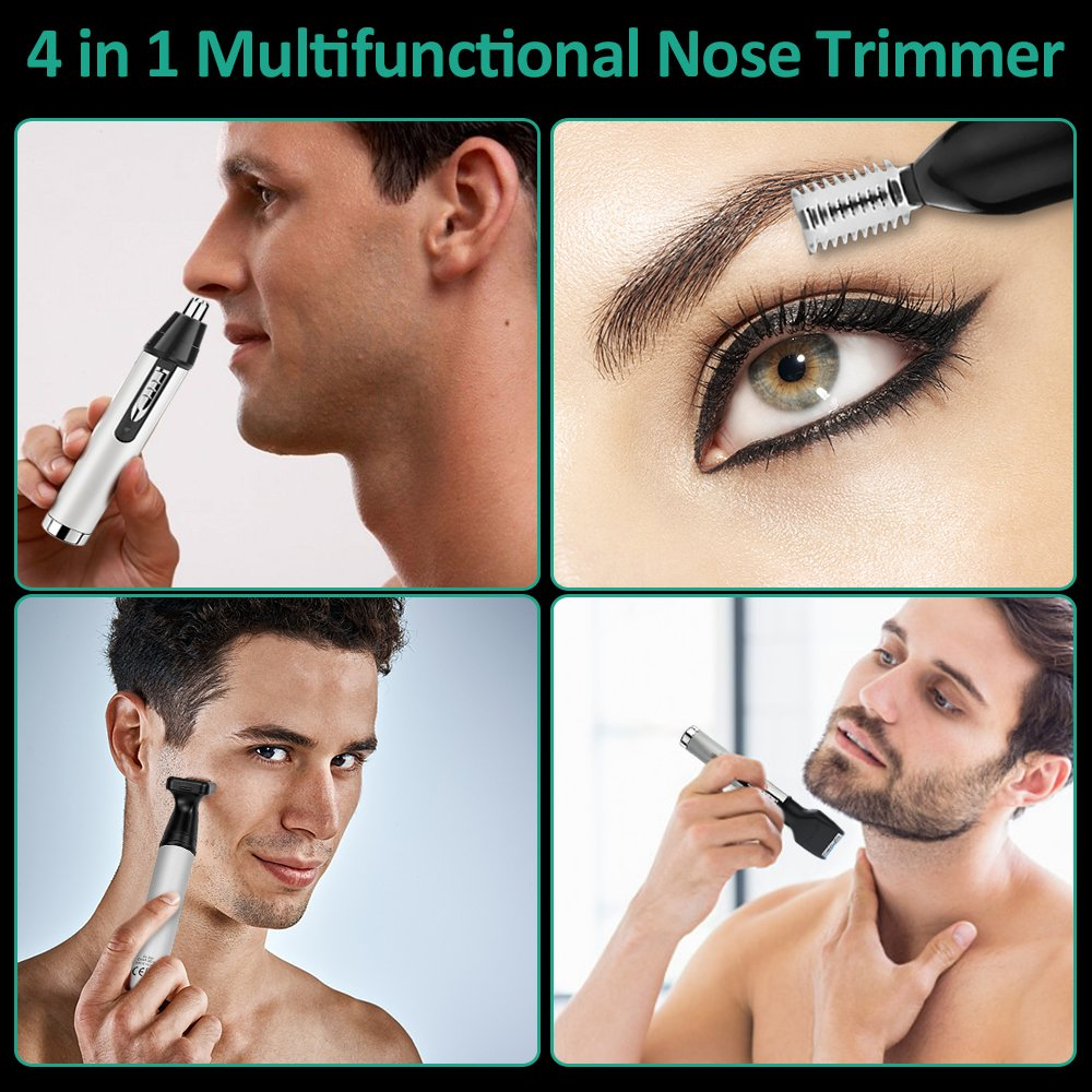 Amazon.com: Nose Hair Trimmer, Bovon 4 in 1 USB Rechargeable Grooming Kit,  Electronic Beard Trimmer, Sideburn and Eyebrow Trimmer, Nose Clippers for  Men ...