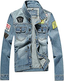 X-Future Men Lightweight Long Sleeve Demin Coat Buttons Plus Size Jean Jackets