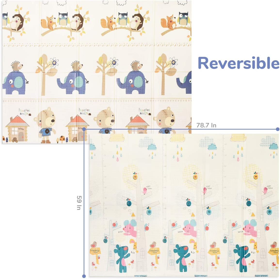 """FOLDING Play Mat /… Bear House 0.4/"""" Thick Extra Large Reversible Crawling Mat Portable Toddlers Kids Waterproof Non-Slip Activity Tummy Time 6.6FT x 5FT BPA FREE Non-Toxic Foam Baby Playmat"""