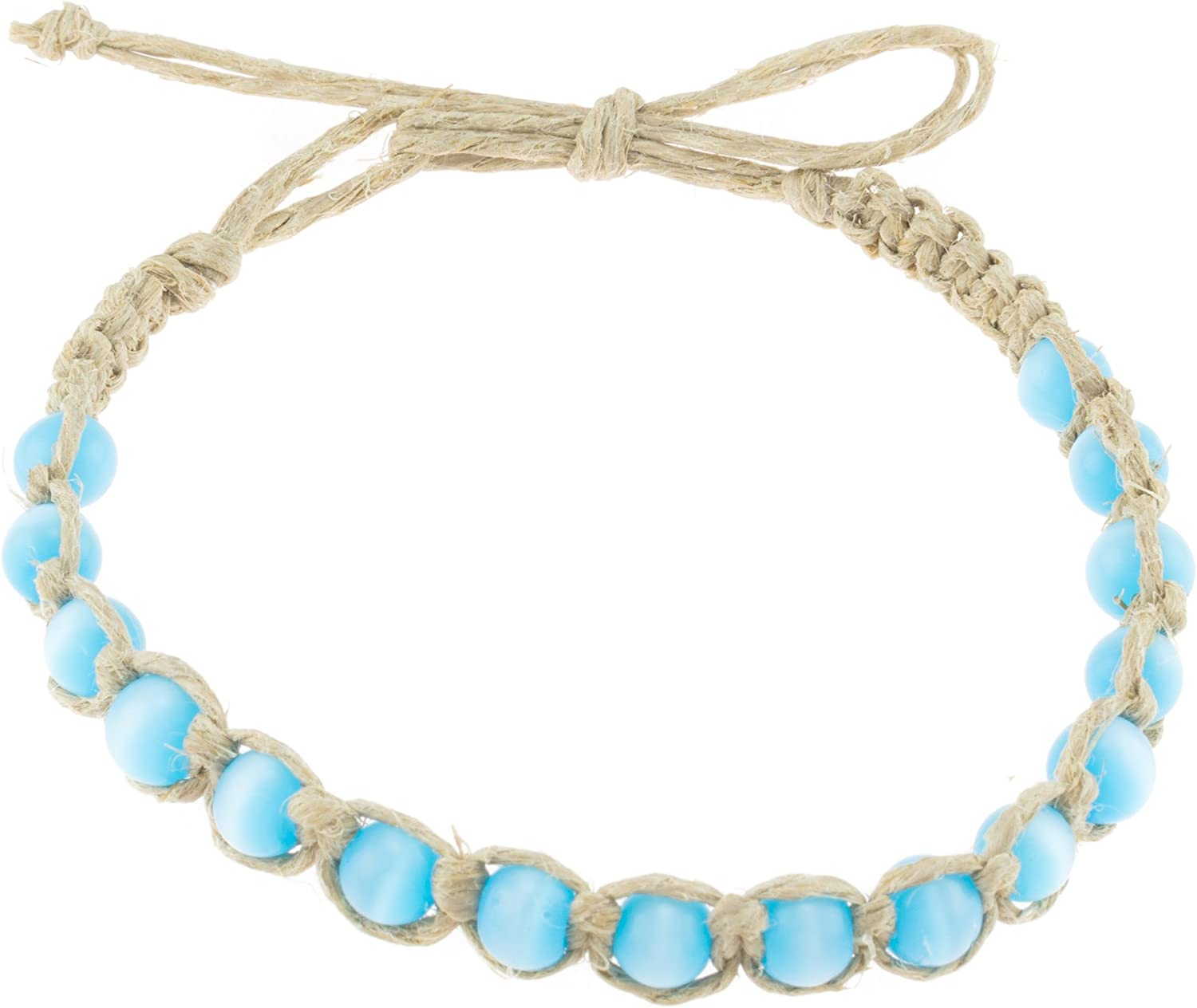 BlueRica Braided Hemp Cord Anklet Bracelet with Turquoise Blue Cat's Eye Beads