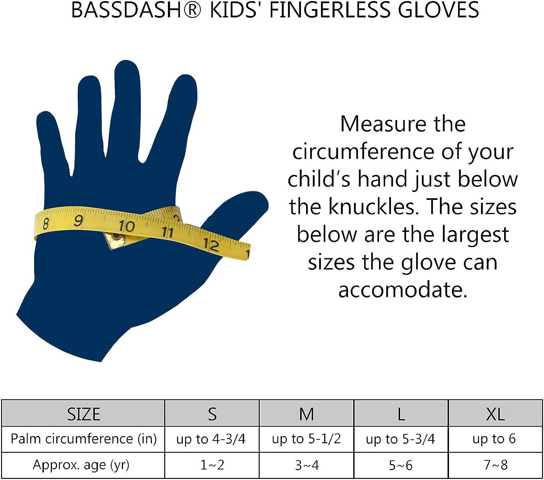 Sun Protection Mitts Fingerless New Bassdash Kids Bicycle Fishing Gloves UPF 50