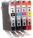 Canon BCI6 Original Inkjet Cartridges Bundle Pack in Foil Packaging - Black/ Cyan/ Magenta/ Yellow