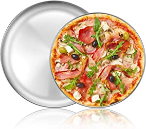 Deedro Pizza Baking Pan Pizza Tray - Stainless Steel Round Pizza Baking Sheet, Nonstick Pizza Pan for Oven, Dishwasher Safe Pizza Serving Tray, 12 inch & 13 inch, 2-Piece Set