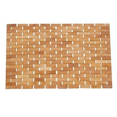 Luxury Roll-Up Bamboo Wood Bath Shower Spa Sauna Mat(28x18x0.2inches)