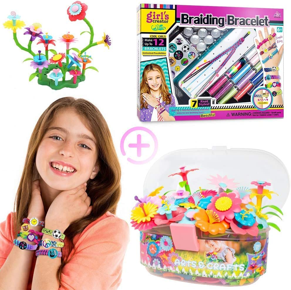 Gili Friendship Bracelet and Flower Garden Building Toys for Girls, STEM DIY Craft Toys, Fun Activity for Kids 6 ,7 ,8,9,10,11,12 Year Old Christmas Birthday Gifts