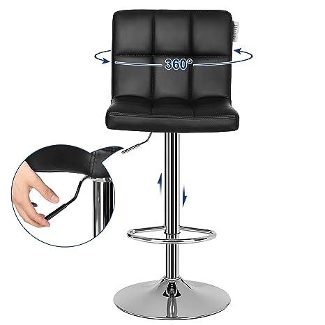 Songmics 1 x chaise et tabouret de bar avec dossier noir hauteur réglable 95 115 cm noir ljb64b 1 amazon fr cuisine maison