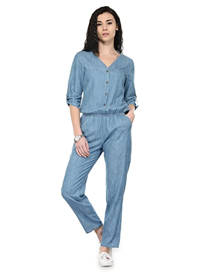 d1cbea24f5c4 Tunic Nation Women s Blue Ankle Length Denim Jumpsuit  Amazon.in ...