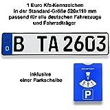 1 DIN-zertifiziertes Kfz-Kennzeichen in der Standard-Größe 520x110 mm passend für alle deutschen Fahrzeuge und Fahrradträger inklusive Parkscheibe