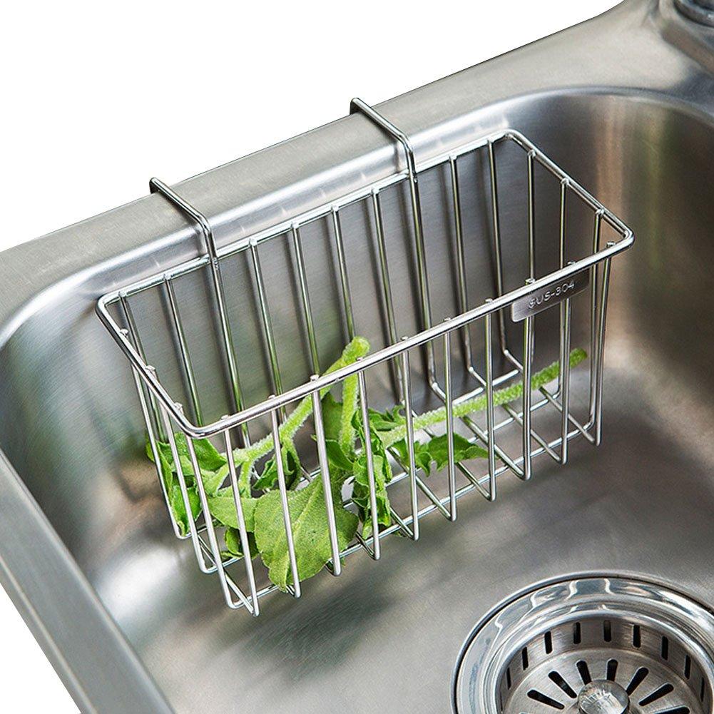 Sponge Holder, Kitchen Sponge Holder, Sink Caddy Brush Soap Dishwashing Liquid Drainer Rack - Stainless Steel
