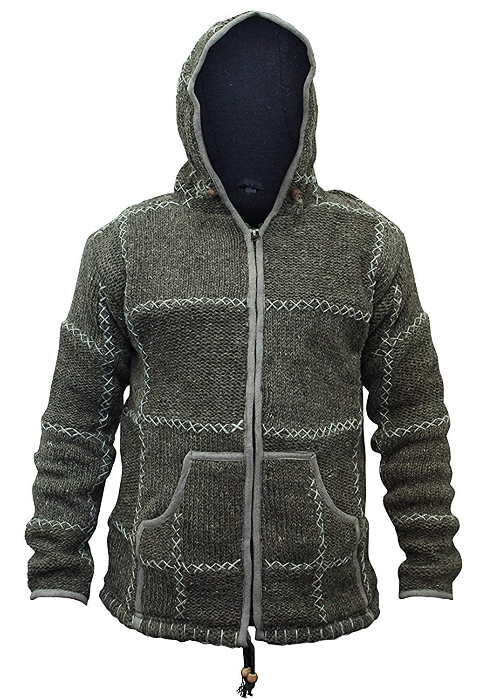 1687bcc3 SHOPOHOLIC FASHION Men's 100% Wool Knitted Hippy Hoody Zip Up Jacket:  Amazon.co.uk: Clothing