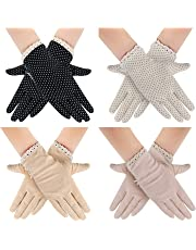 4 Pairs Summer Women Dots Sun Uv Protection Gloves Cotton Lace Anti-skid Driving Gloves