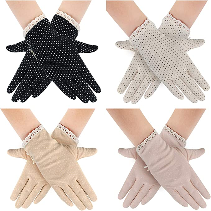 Vintage Gloves History- 1900, 1910, 1920, 1930 1940, 1950, 1960 4 Pairs Summer Women Dots Sun Uv Protection Gloves Cotton Lace Anti-skid Driving Gloves $18.99 AT vintagedancer.com