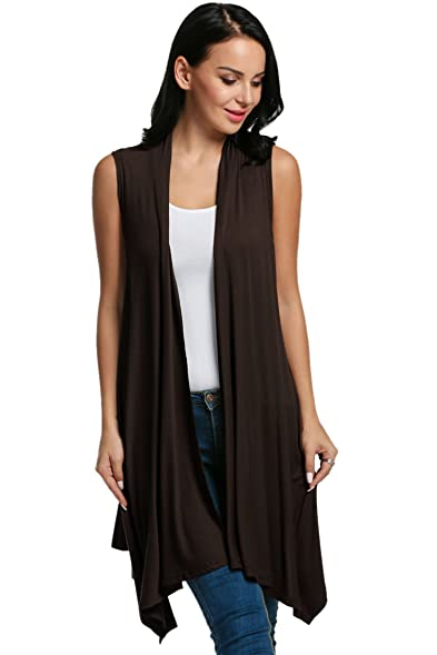 Beyove Women's Asymetric Hem Sleeveless Open Front Drape Cardigan ...