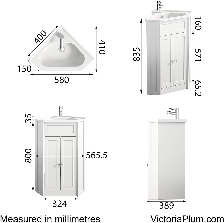 The Bath Co Camberley white corner floorstanding vanity unit and ceramic basin 580mm