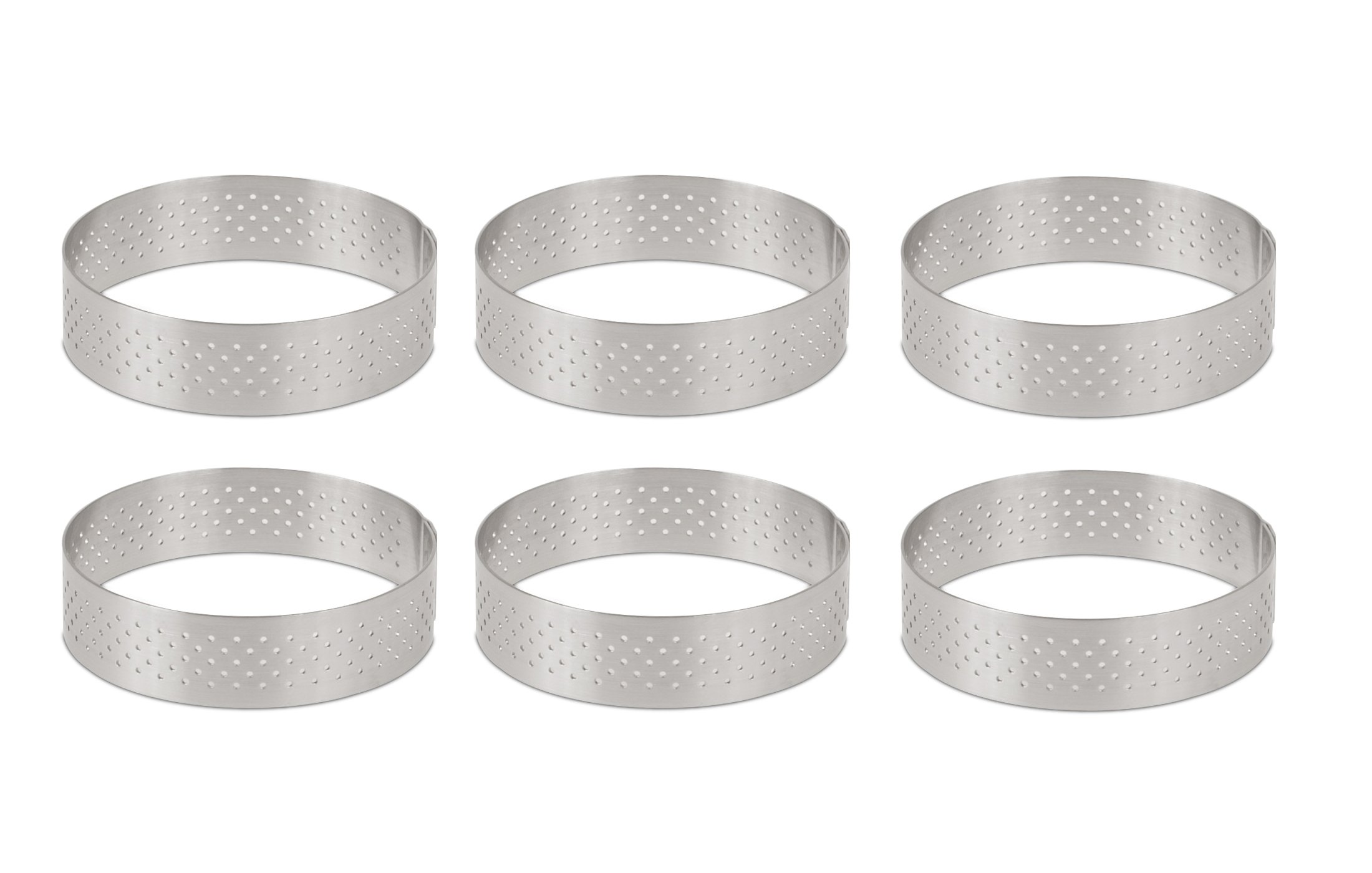 DeBuyer Valrhona Perforated Tart Ring - 3.5 inch Diameter, Set of 6 units by De Buyer