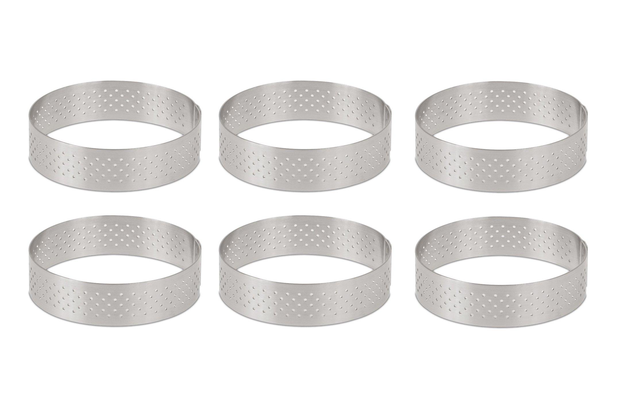 DeBuyer Valrhona Perforated Tart Ring - 3.5 inch Diameter, Set of 6 units