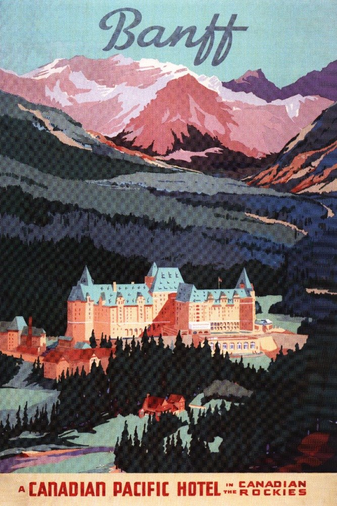 Banff, Alberta, Canada - Exterior View of Banff Springs Hotel - Vintage Advertisement (9x12 Art Print, Wall Decor Travel Poster)