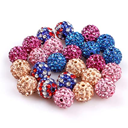 GEM-inside Pave Shine 10MM Beads Mixed Colors Easy Use For Jewelry Making  Design Diy 8df9a93216b4