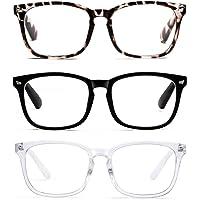 3-Pack Square Blue Light Blocking Glasses for Women Anti Eye Strain Computer Reading Glasses Unisex Fashion Eyeglasses Frame