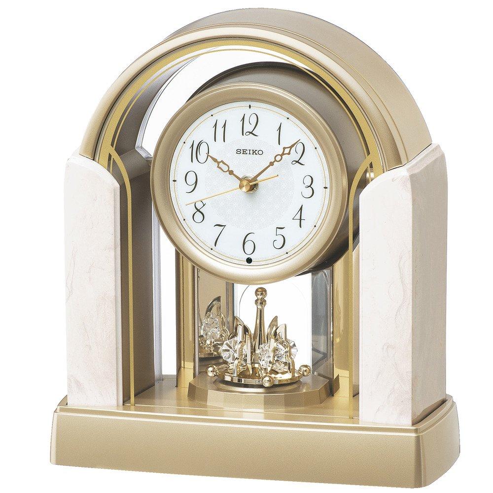 セイコー クロック 置き時計 電波 アナログ 回転飾り アイボリー マーブル 模様 BY236G SEIKO B01K1QQNX0