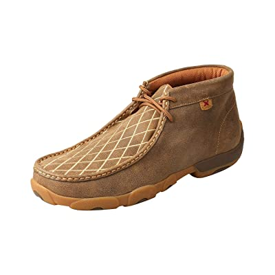 Twisted X Men's Casual Leather Handcrafted Chukka Driving Mocs: Clothing