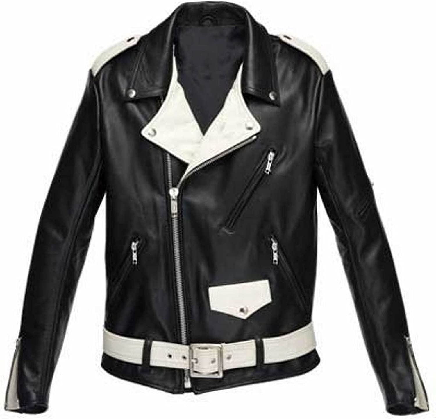 New Men Quilted Leather Jacket Soft Lambskin Biker Bomber T808