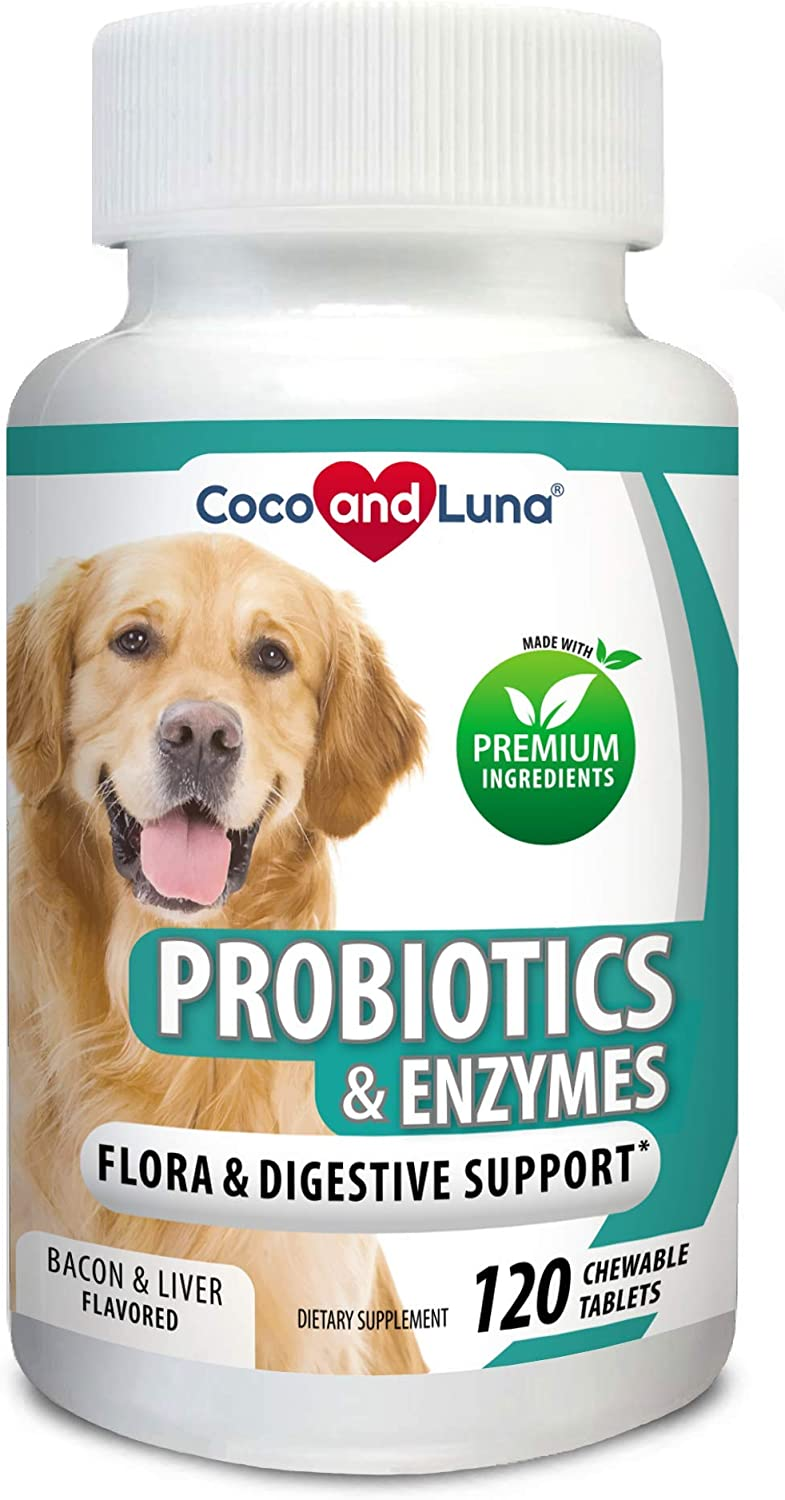 Probiotics for Dogs – Digestive Enzymes, Diarrhea Treatment for Dogs, Promotes Healthy Stomach and Digestion – Relieves Constipation and Gas - 120 Chew-able Tablets