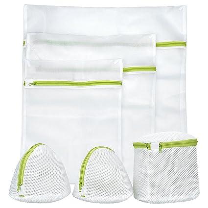 Ropa bolsas de ropa, 6 unidades reutilizable bolsas de lavandería lavado de malla con cremallera perfecto para sujetador, ropa interior, calcetines, ...
