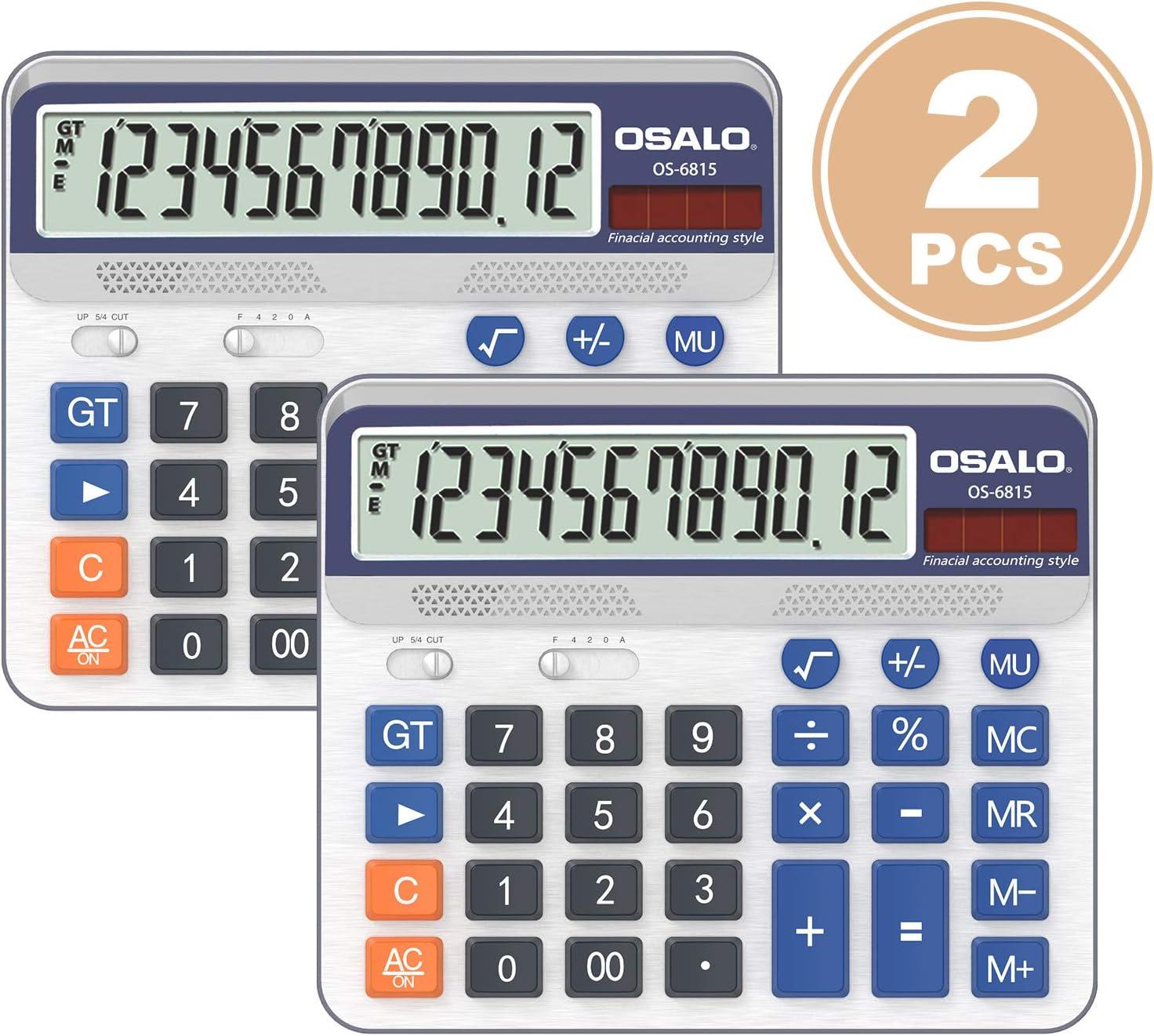 Pendancy Large LCD Display Button 12 Digits Desktop Calculator (6815-2pcs)