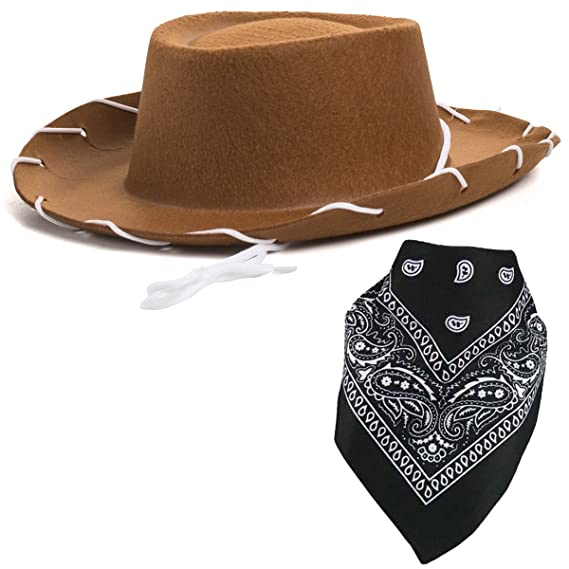 2d031745938e7 Quality Child Cowboy Costume Hat With  FREE  Cotton Paisley Bandanna - Funny  Party Hats TM (Brown Felt Cowboy Hat with Black Paisley Bandana)   Amazon.in  ...