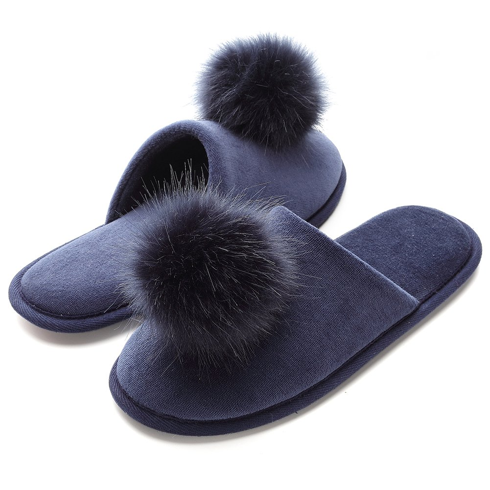 INFLATION Women's Plush Pom-pom Fuzzy Slippers Fluffy Slippers Slip on Indoor Outdoor Slippers for Women by INFLATION