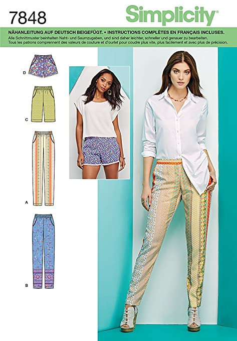 Burda Simplicity s7848.h5/ /Cartamodello di pantaloni//pantaloncini//Bermuda carta bianco 21/x 15/cm