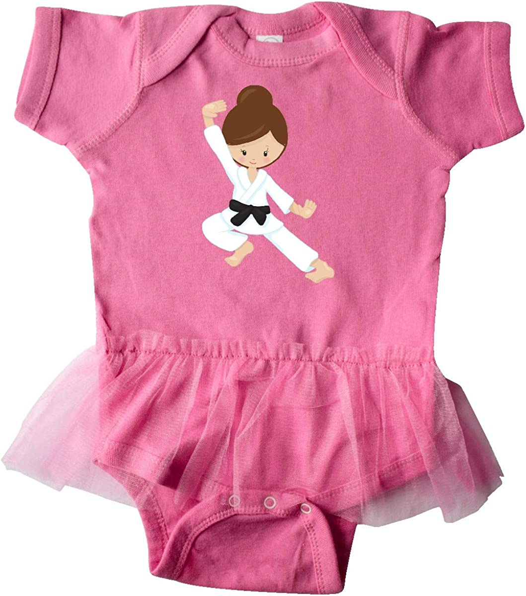 Black Belt inktastic Cute Girl Karate Pose Infant Tutu Bodysuit Brown Hair