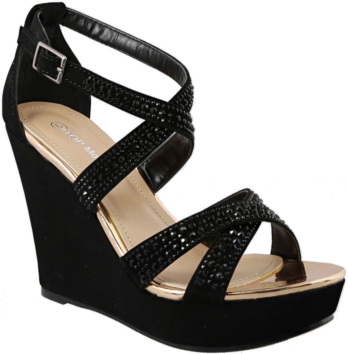 Top Moda FRANSKY-9 Women's Wedge Sandal (7, Black)