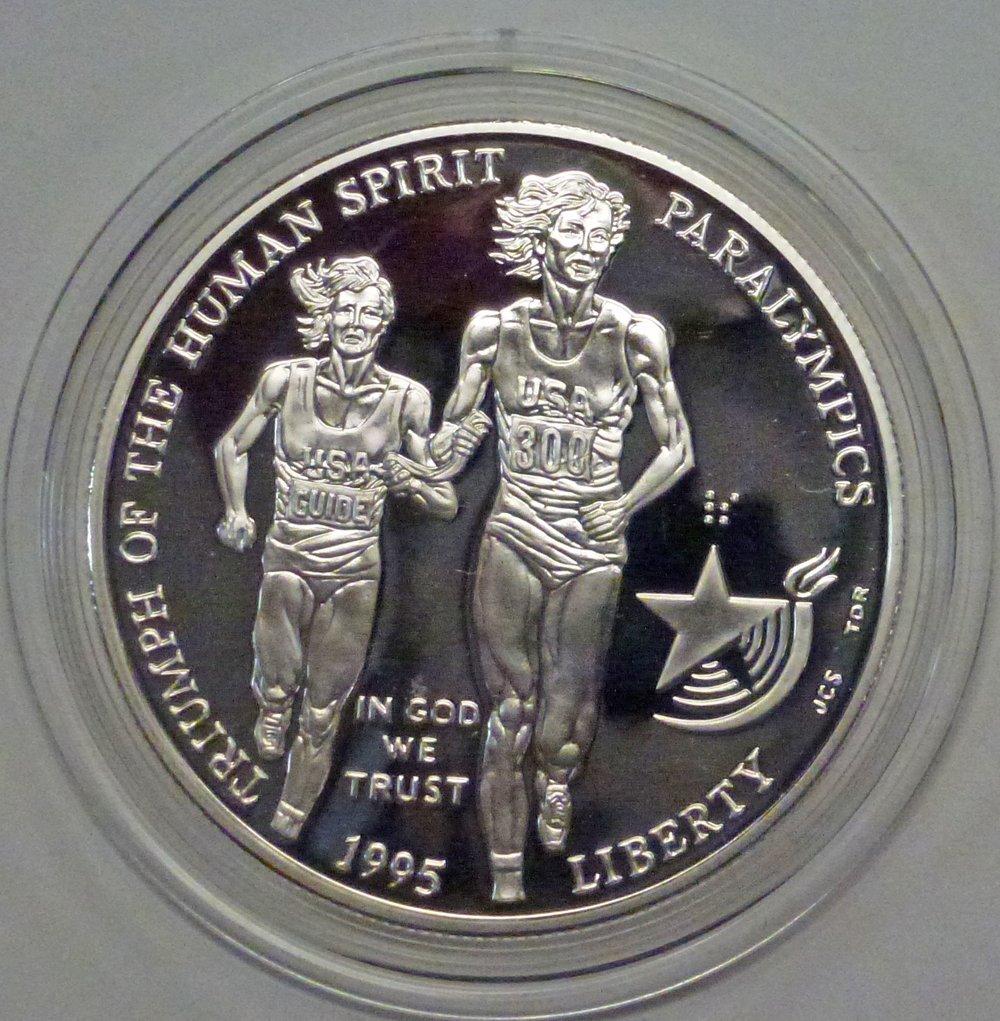 1995-P Blind Runner Paralympics Silver Commemorative Dollar PR69DCAM PCGS Proof