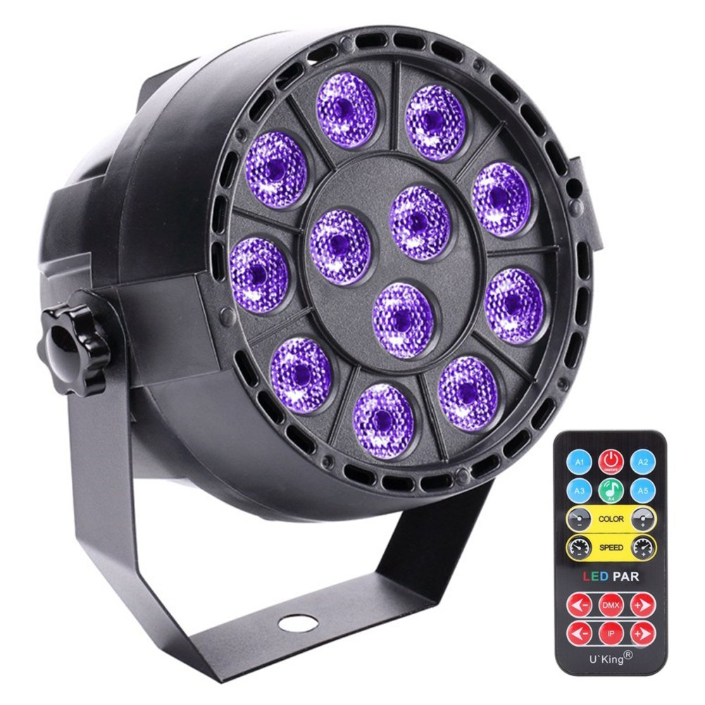 U`King Black Lights for Parties 36W Blacklight UV LED Par can Light with IR Remote for Stage Lighting DJ Disco Bar Club Wedding Party Band Shows