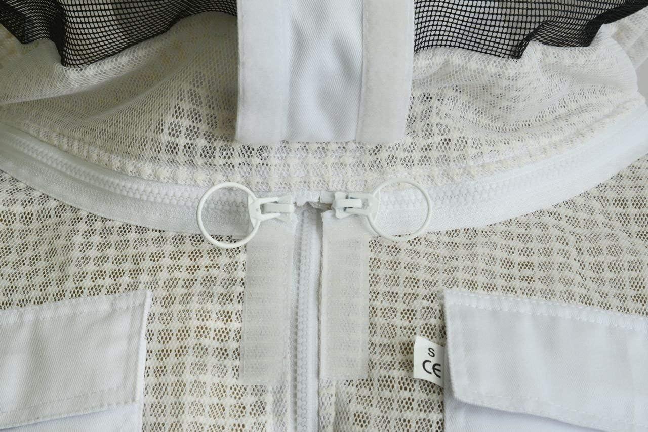 Combinaison dabeille 3 Couches de s/écurit/é Unisexe Blanc Tissu Mesh Veste Apiculture Rond Veil V/êtements de Protection Apiculture V/êtements de Protection Abeille Enti/èrement ventil/é