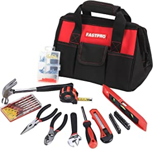 FASTPRO 135-Piece Basic Home Tool Set with 12-inch Tool Bag