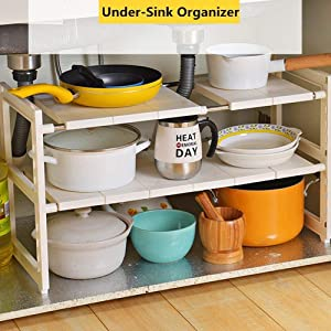 OBOR Expandable Under Sink Organizer - 2 Tier Multifunctional Storage Rack with Removable Shelves and Steel Pipes for Kitchen, Bathroom and Garden