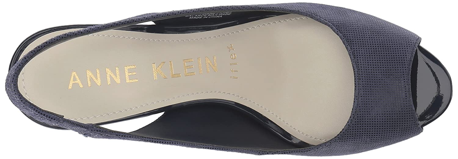 Anne Klein 10.5 Women's Maurise Peep Toe Sling-Back Pump B07BL54FQX 10.5 Klein M US|Navy Leather 813bcd