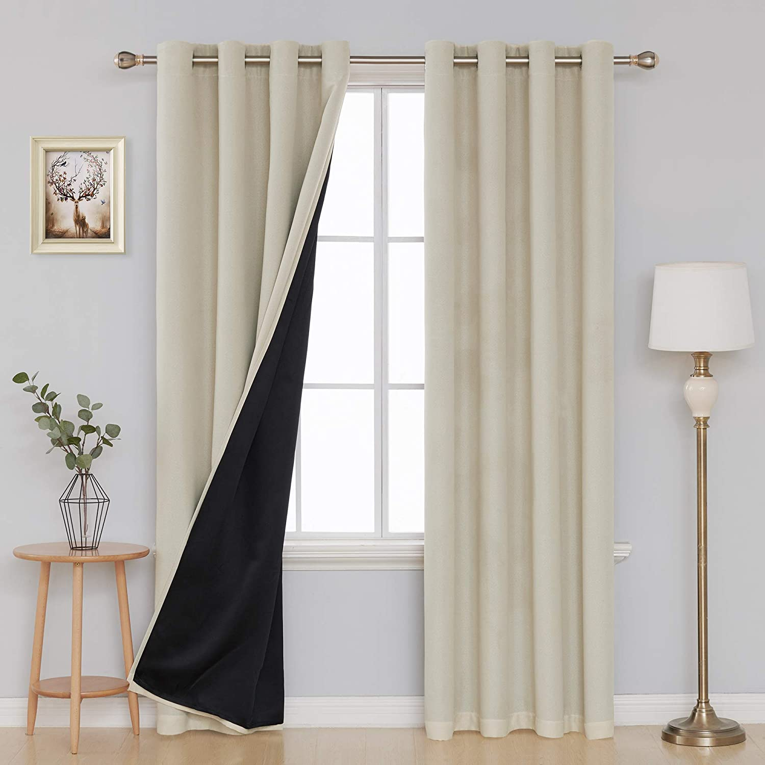 Amazon Com Deconovo Linen Blackout Curtains 100 Percent Sun Light Blocking Window Curtains For Bedroom Living Room Double Layer Room Darkening Grommet Curtains Beige 52 X 84 Inches Length Set Of 2 Panels