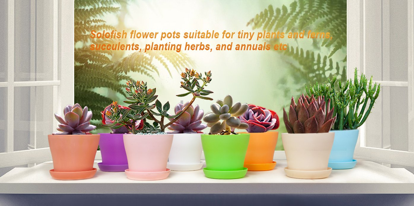 SOLOFISH 5'' Plastic Flower Pots Seedlings Nursery Pot Planter Flower Pot with Pallet 8 Colors, All Medium Size