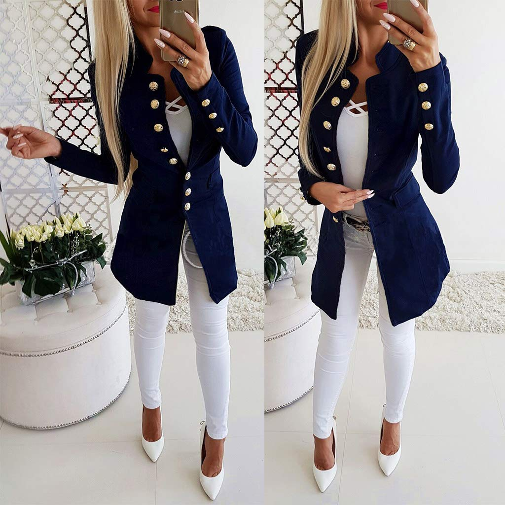 HOTPINK1 Womens Button Open Front Suit Military Blazer Ladies Office Work Jacket Coat Suitable for Many occcasions