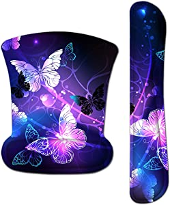 Keyboard Wrist Rest Pad Ergonomic Mouse Pad Set, ToLuLu Gel Mouse Pad for Computer Laptop, Non Slip Mousepad Keyboard Wrist Support w/Raised Memory Foam for Easy Typing & Pain Relief, Art Butterflies