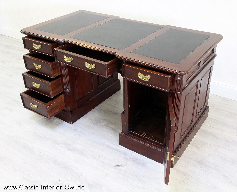 Classic Interior Schreibtisch Chesterfield Leder Antik Tisch