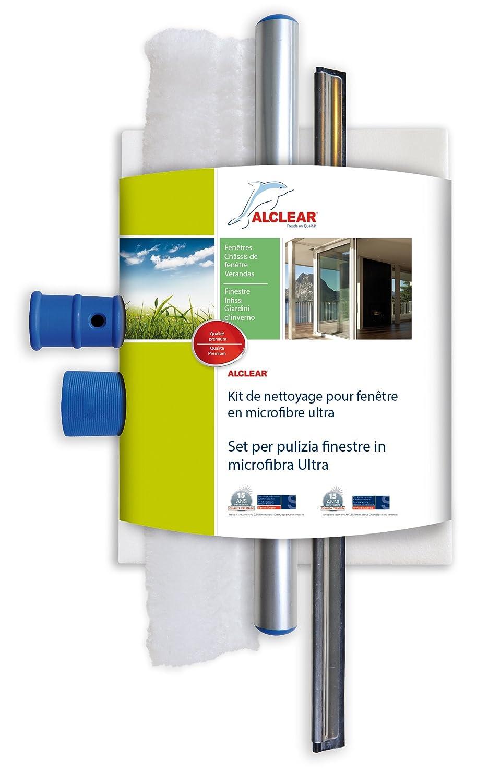 ALCLEAR 960008 Ensemble professionnel pour les vitres avec chiffon en microfibre et une raclette de 35 cm, toile nettoyante de vitres en microfibre,  set de nettoyage des vitres en trois parties. ALCLEAR International GmbH