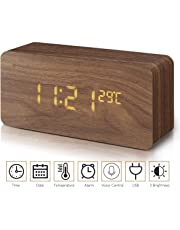 Chantwon Réveil numérique en Bois avec Affichage de la Date, Affichage de la température, 12/24 H et 3 Luminosité réglable LED Réveil pour la Maison, la Chambre à Coucher, Le Bureau, Les Enfants