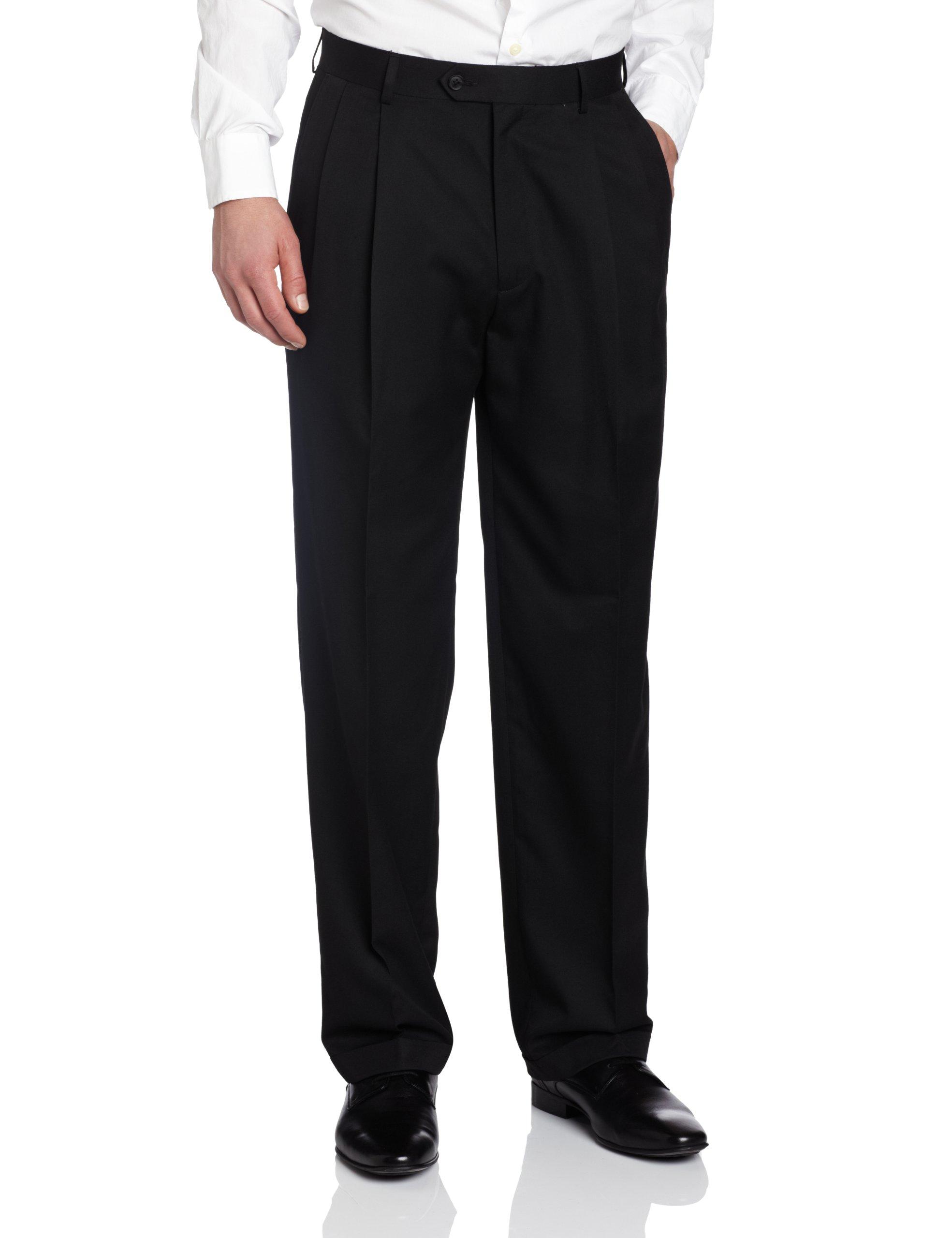 Haggar Men's Solid Pleat Front Suit Separate Pant, Black, 38x29