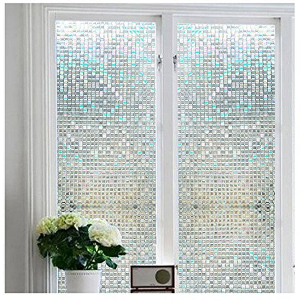"""Bloss Stained Glass Window Film Non-Adhesive Privacy Window Covering 3D Window Déco Mini Mosaic Design 17.7"""" By 78.7"""" ,1 Roll"""