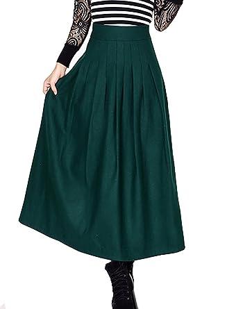 214007dc3a274 BININBOX® Dames Mode taille haute jupes longues A-ligne de jupe de laine  jupes